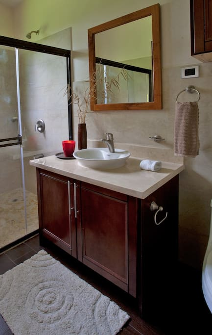 One of the two master bathrooms. We supply our guest with ample towels and beach towels as well.