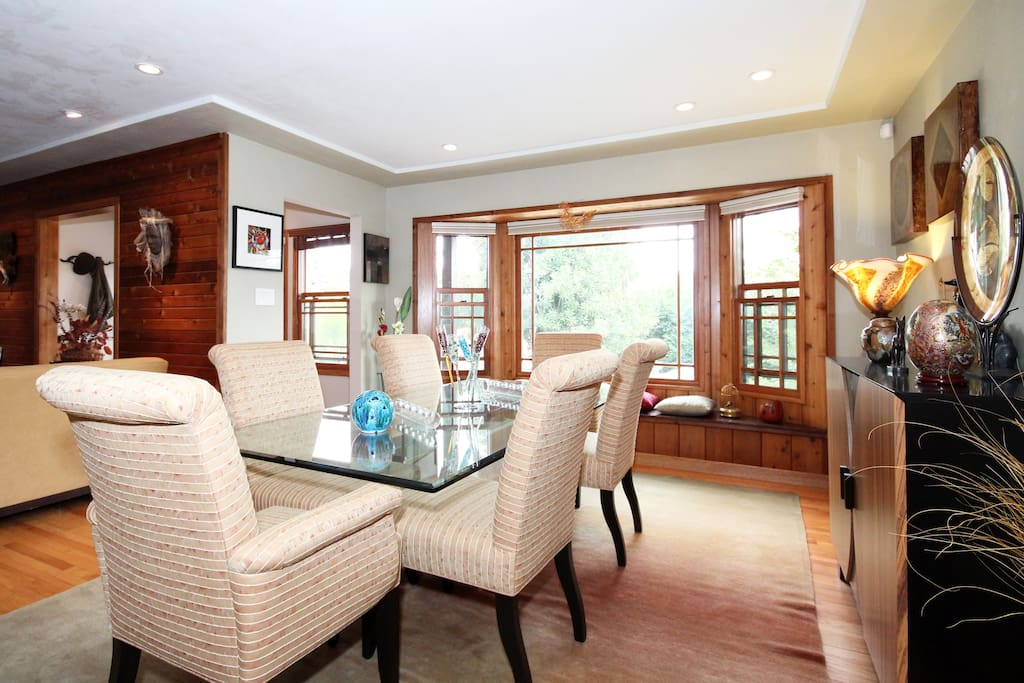 Formal dining room with view of the front garden