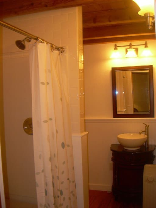 Shower, sink, and toliet around corner on left.  Decorating completed, pic to follow!