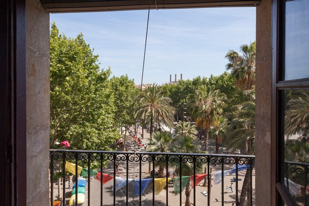 the amazing view to la rambla del raval from the balcony of the living room