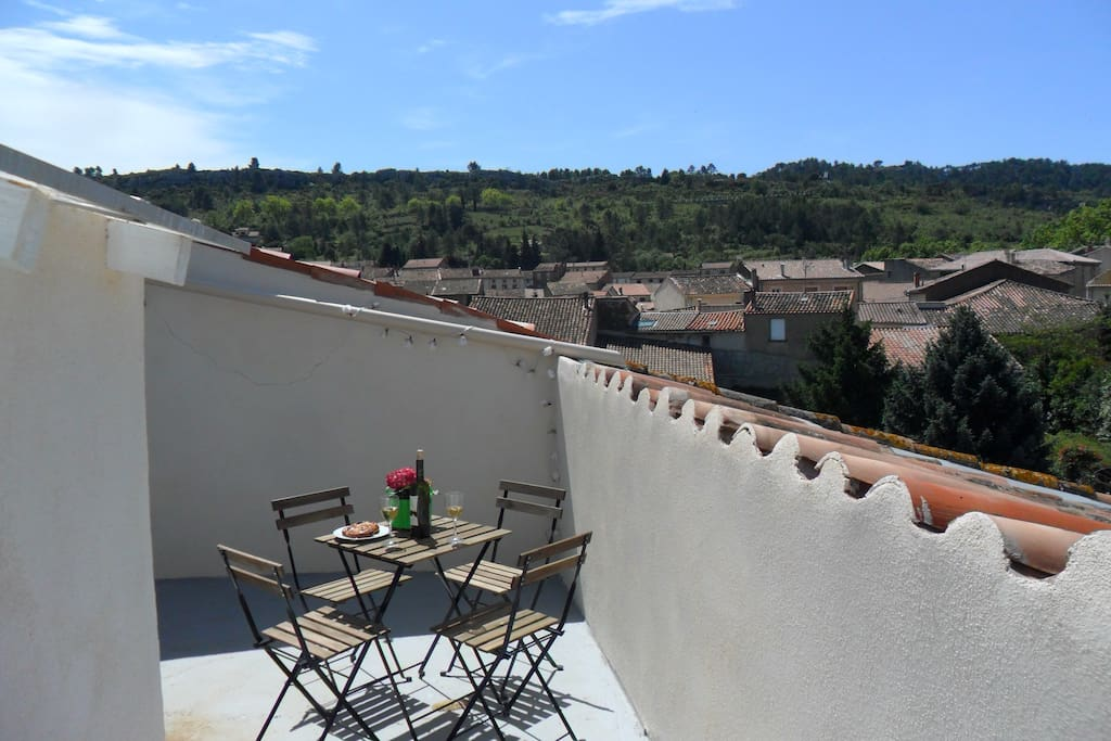 Views of St Chinian from the roof top terrace off the master bedroom.