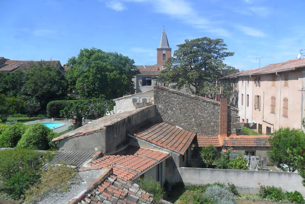 views over St chinain towards the Church from the bedroom window.
