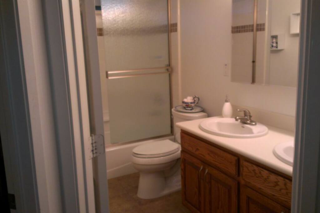 Bathroom with double sinks.