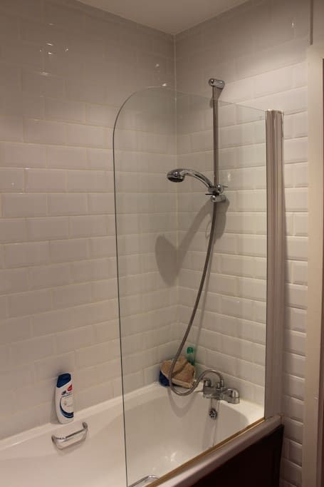 Another view of the main bathroom showing high-pressure shower over bath, again for exclusive use of guests.