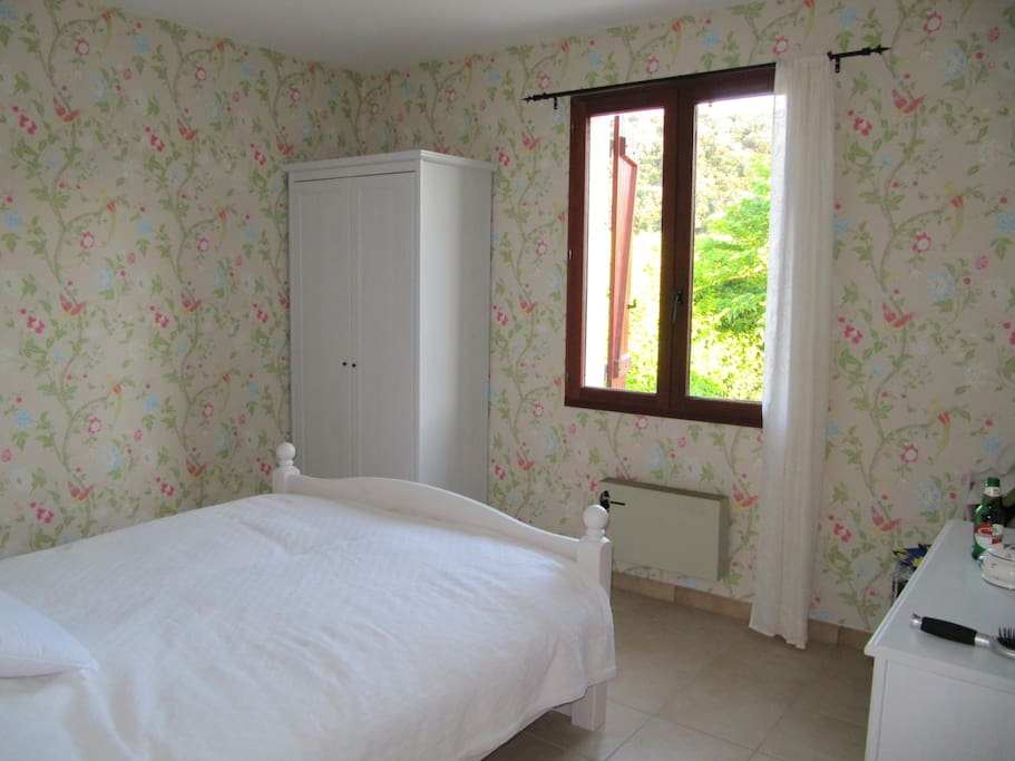 double bedroom over looking the garden: