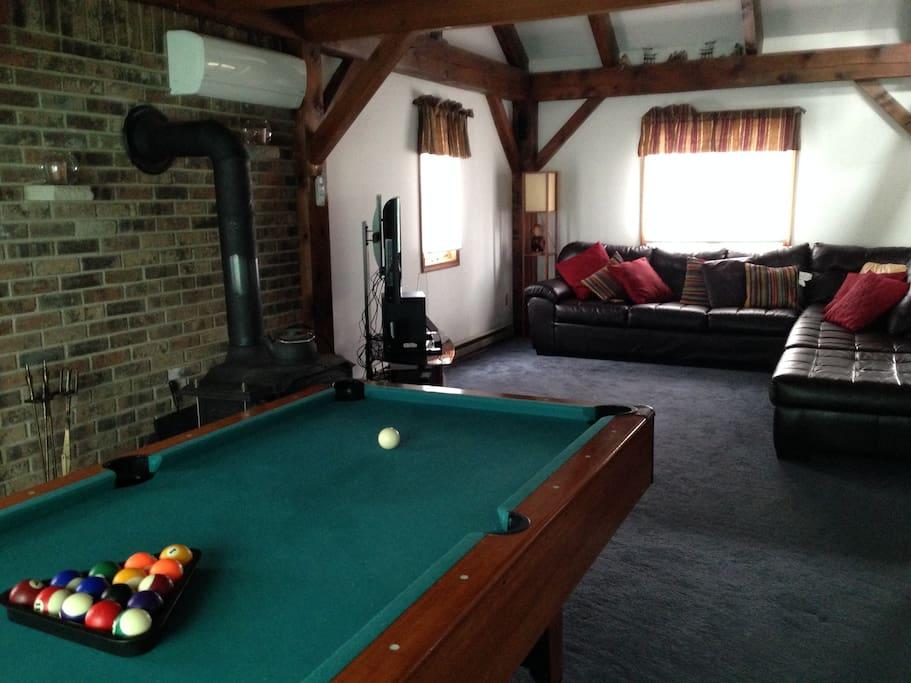 Living Room, Wood Burning Stove, Pool Table