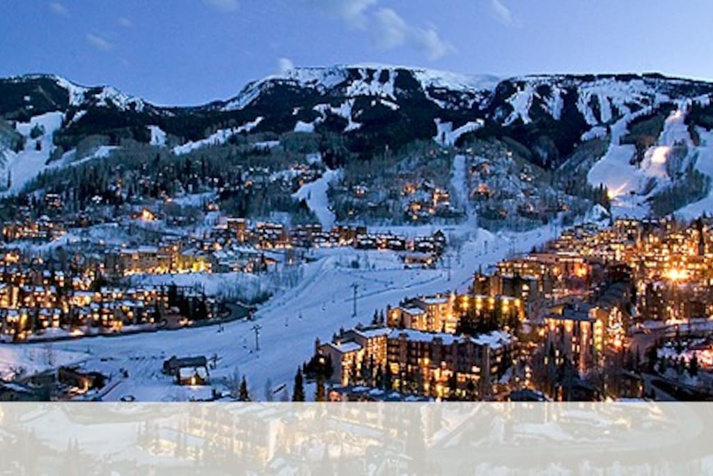 Snowmass Village. Galliwest is located on middle left side of this photo of the ski mountain