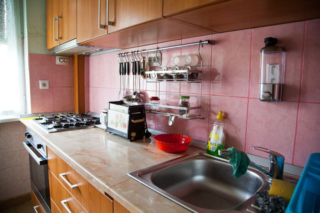 Kitchen with fridge, gas oven etc