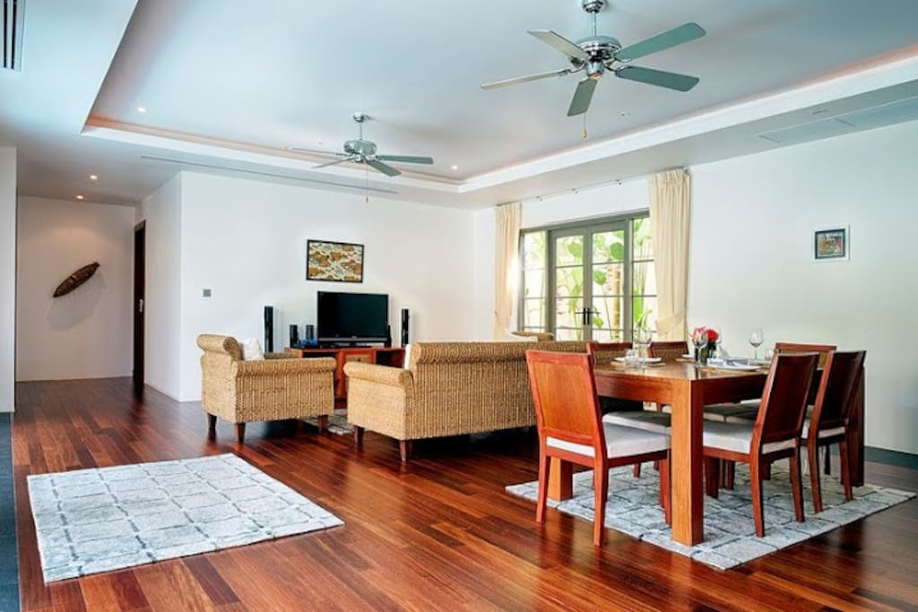 Spacious open space living room, dining and kitchen