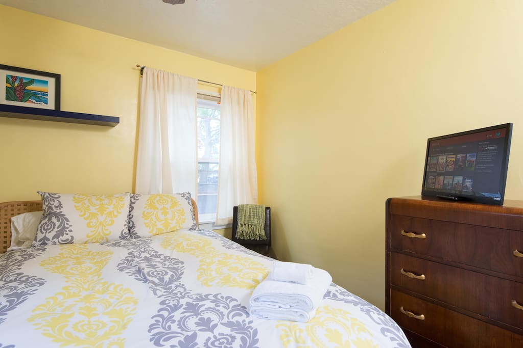 Cheerful, sunny room with comfortable bed and down pillows.