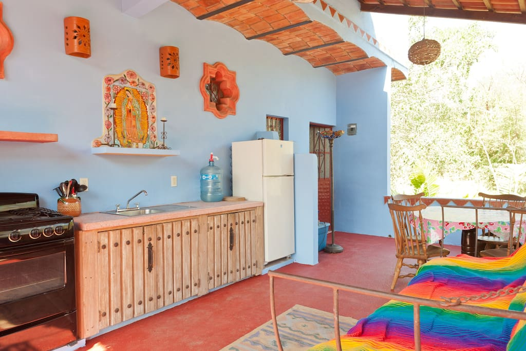 View of the second floor patio and kitchen with Casita Danza far right