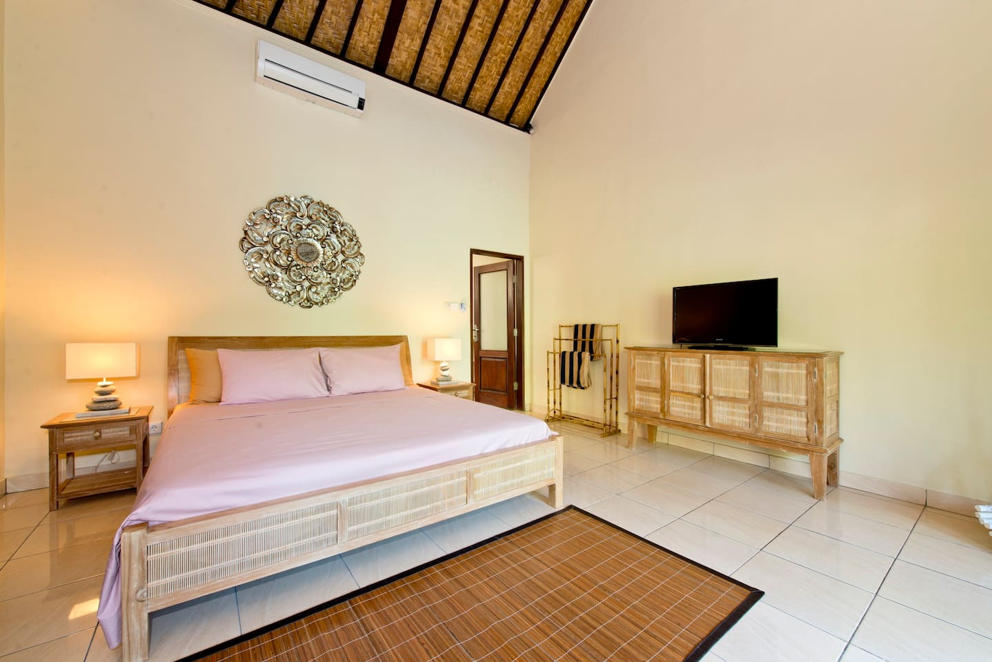 Your private bedroom kingsize, TV cable, safety box, air con, fan
