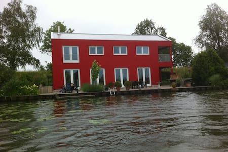 The red house on the waterfront - Amsterdam