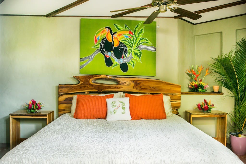 This is the master bedroom, king size teak bed