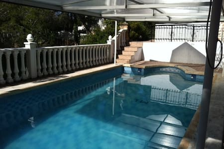 Spanish Villa filled with character available to rent for up to 6-8 persons/3 bedrooms. Private swimming pool and garden with fruit trees.  Stones throw away from Golf Course.