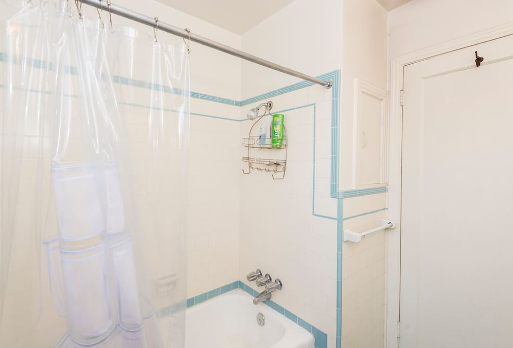 Shower in bathroom (sometimes shared with others)