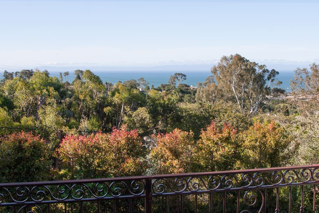View off the front decks of the main house. Rolling hills, ocean, and the channel islands