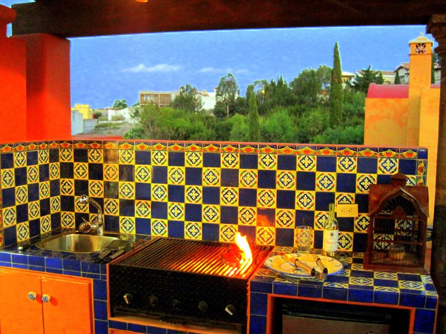 A Gas Barbecue. with sink & refrigerator make for enjoyable Rooftop meals!