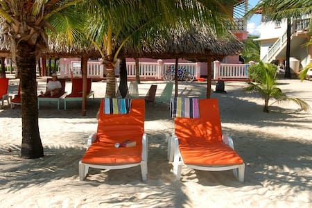 Beachfront,Ocean view 'studio apt' w/ bicycles- MM - Placencia
