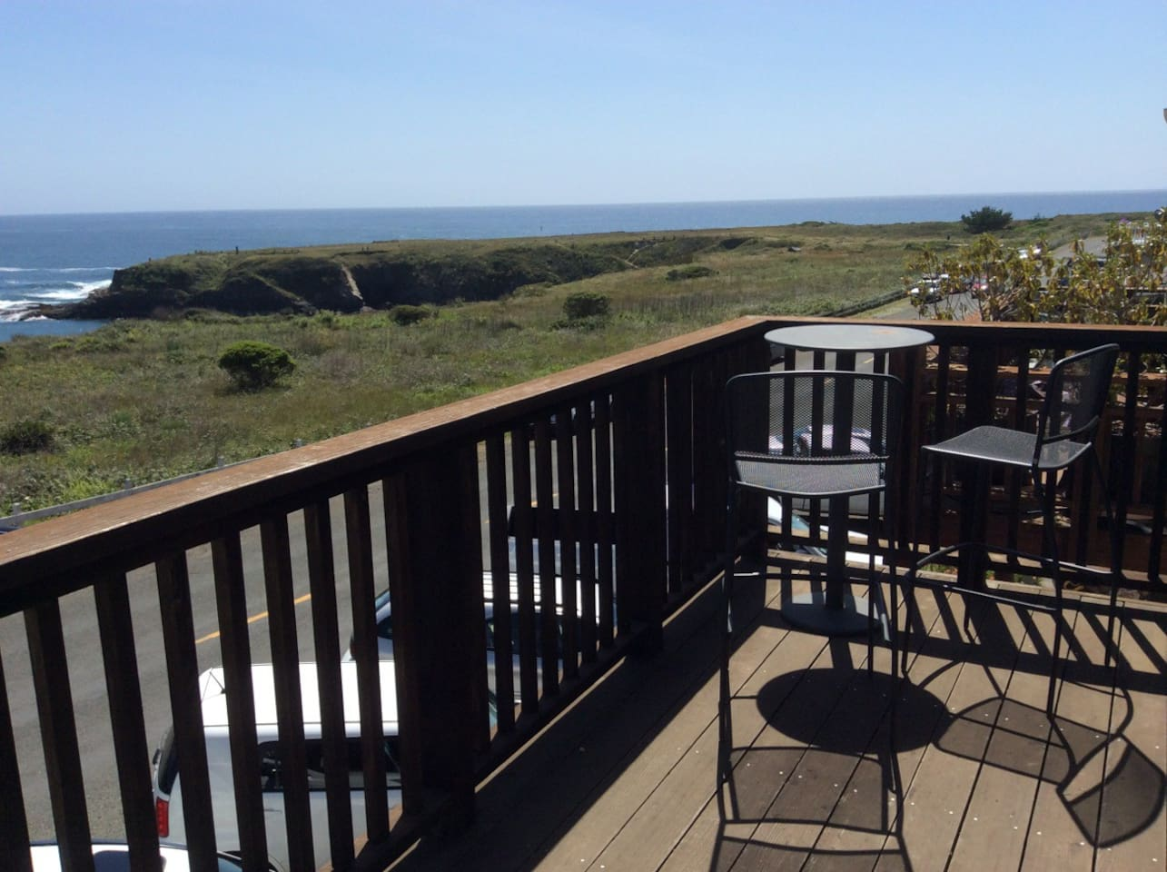 Epic balcony has a sweeping, unobstructed 180 degree ocean view. Enjoy a stunning vista including Mendocino Headlands State Park, Mendocino Bay, the Pacific Ocean, historic Main Street Mendocino and you!