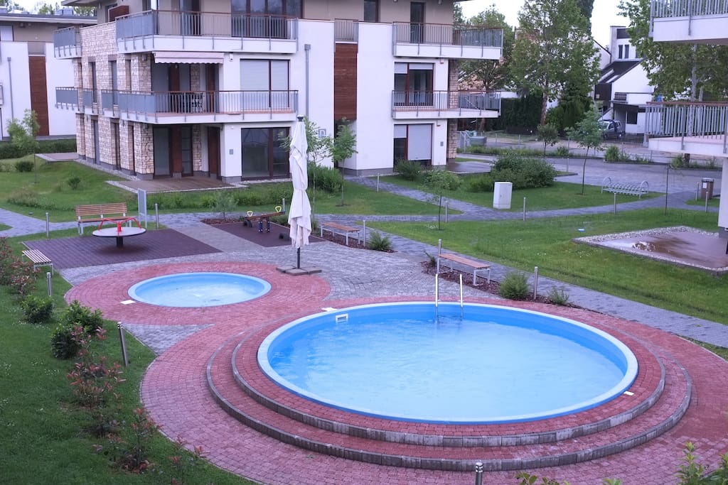 The pools and the playing ground