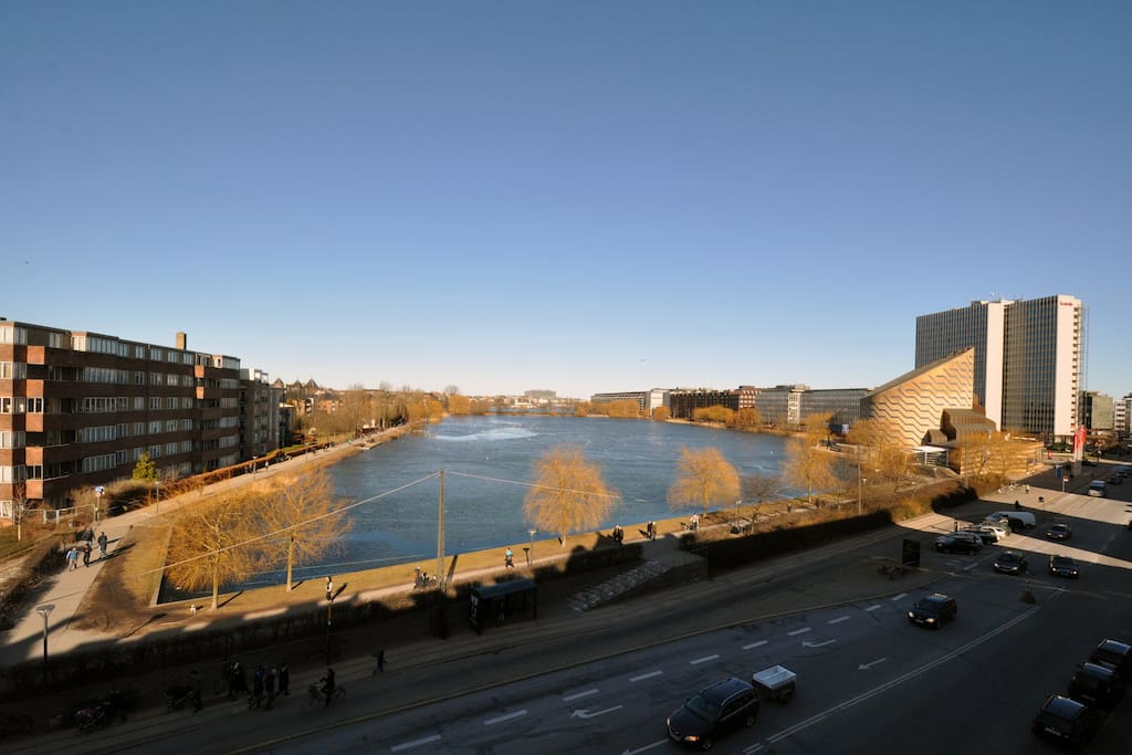 The view over the Inner Lakes of Copenhagen, with the Planetarium on the right
