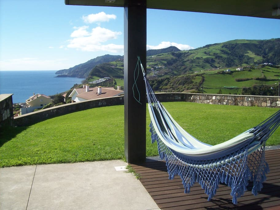 Blue and green: the colours of Azores (garden and hammock).