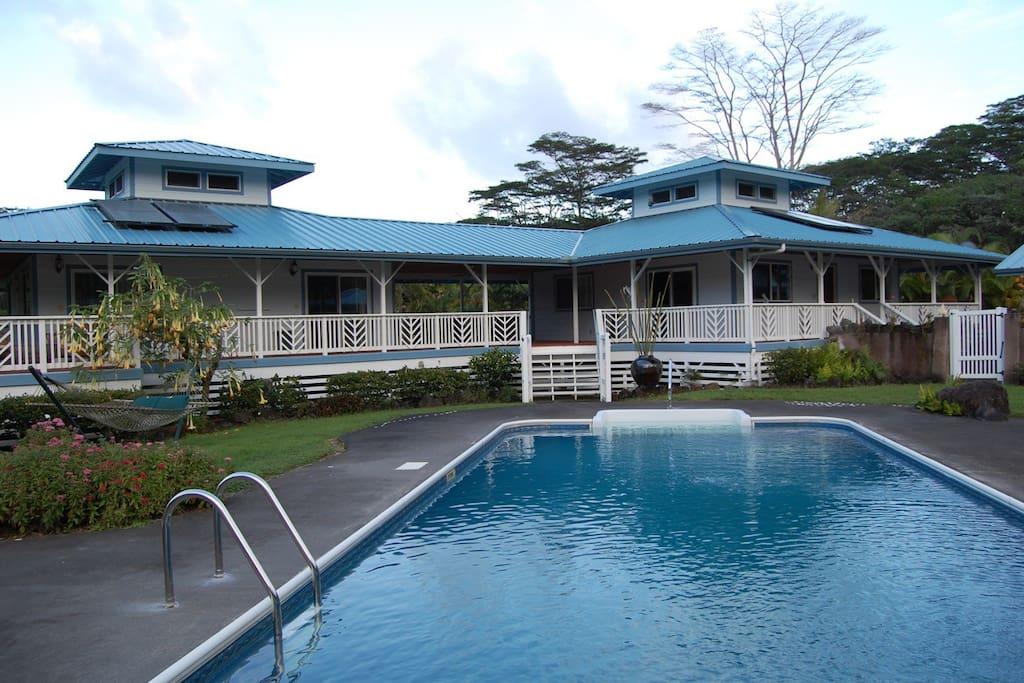Enjoy a swim in our custom built pool