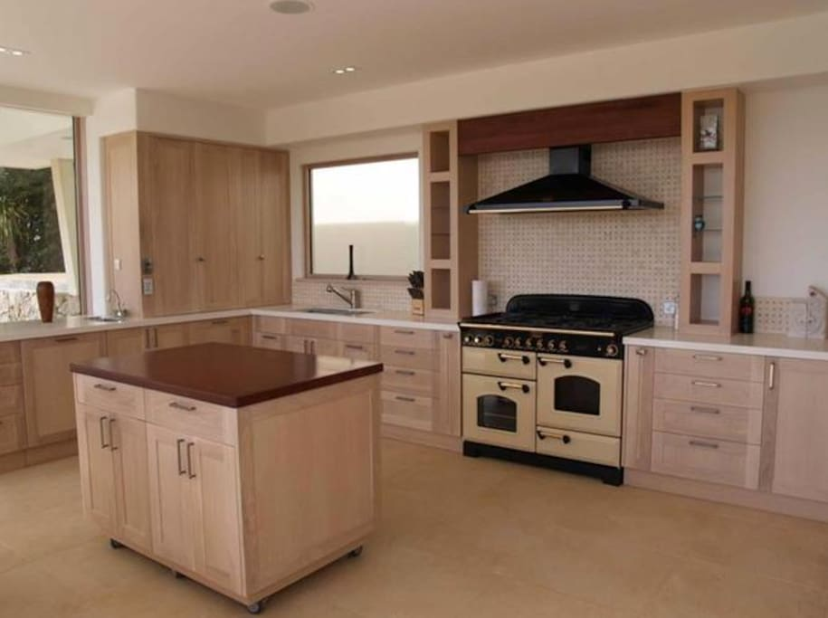 Spacious designer kitchen.