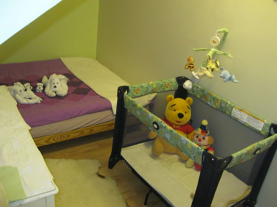 Double bed and playpen