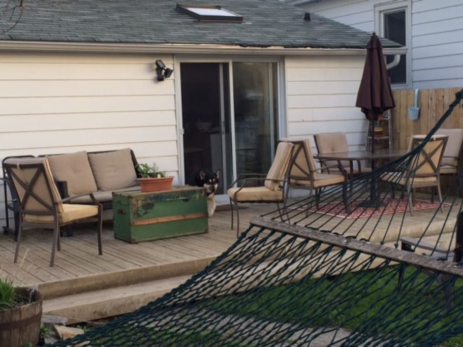 The back deck and hammock!!   You can lose track of time here!