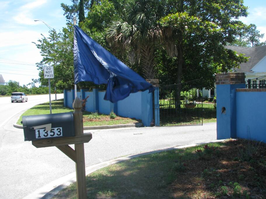 This is the view from the street as you enter the driveway. Please note the blue wall and SC flag