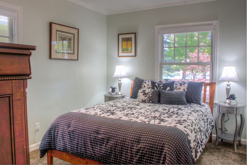 Luxurious pillow top bed. Very comfy! Bedroom also has light blocking drapes to reduce exterior light.