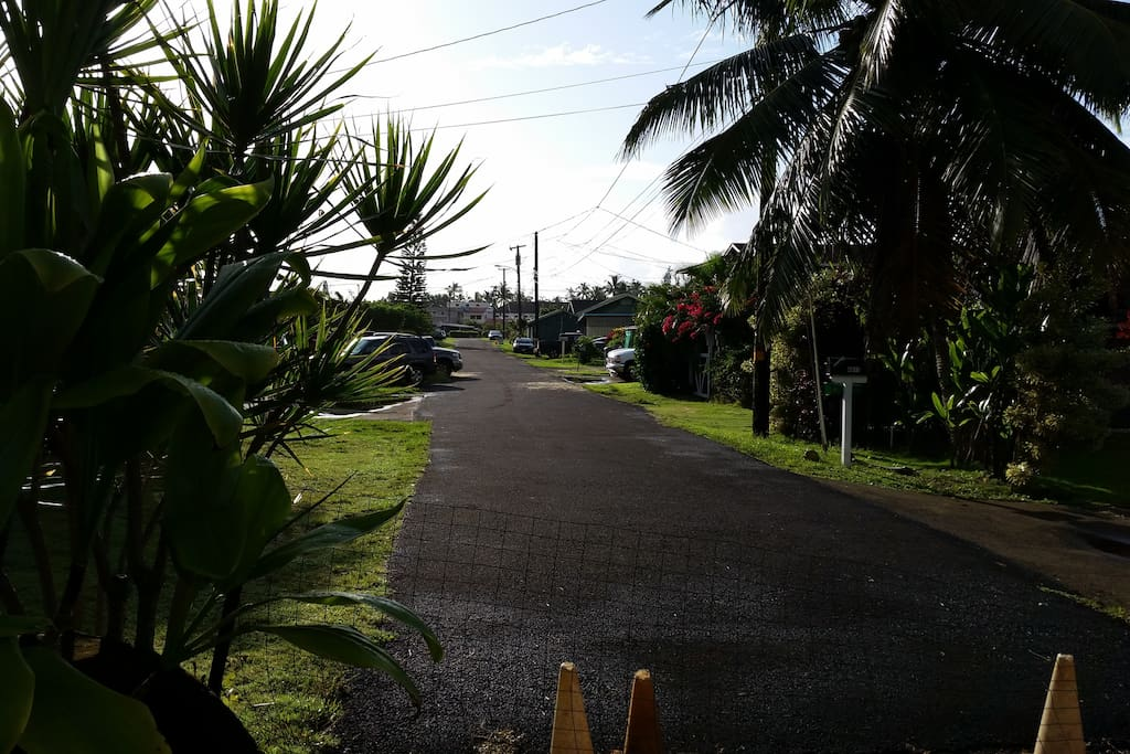 Located on a quiet local street in Kapaa Town. Walk 3 minutes to the Kapaa Town First Saturday Celebration each month.
