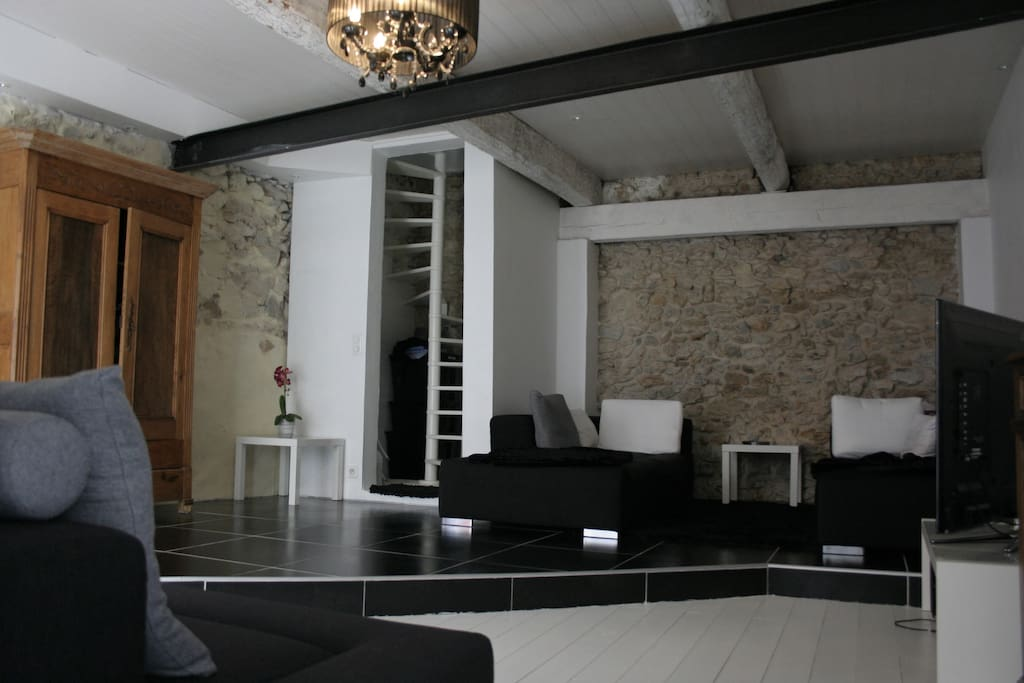 Grand salon avec deux canapés, propice a la détente.