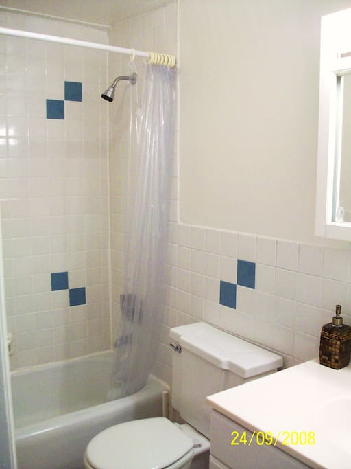 Modern Tiled Bathroom w/ Full Bathtub & Shower.