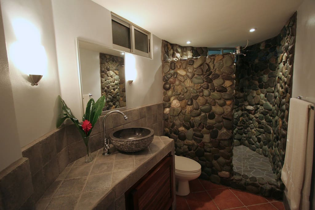 We hand picked all the stones to give the shower a unique feel
