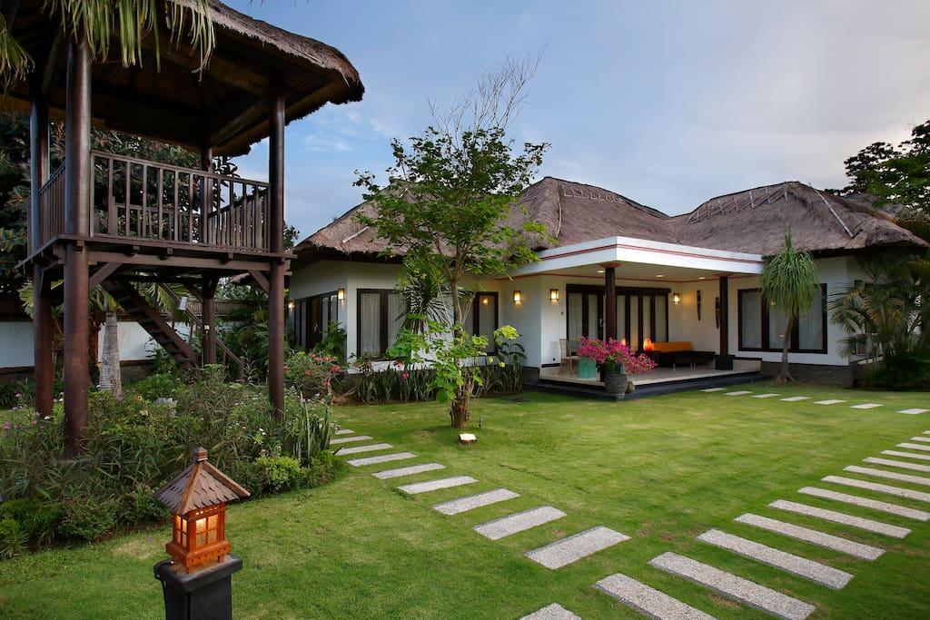 The exterior of our Beach Villa at Villa L'Orange Bali.