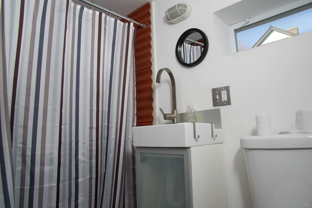 Bathroom with great shower.