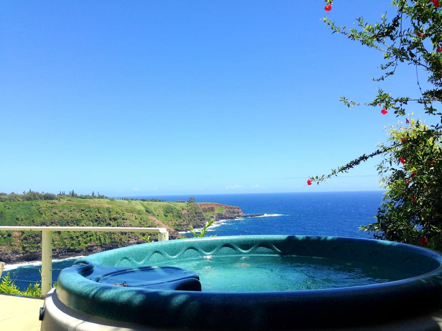Beautiful view to the ocean from the hot top located on the cottage lanai