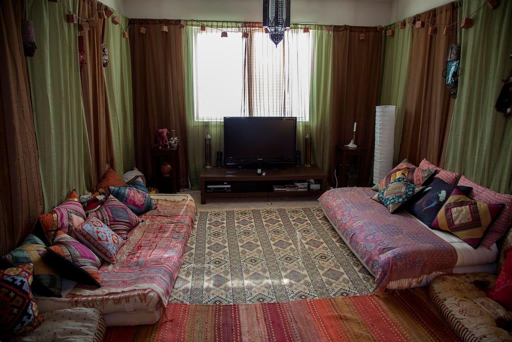 Shikibuton bed laid as sofa.