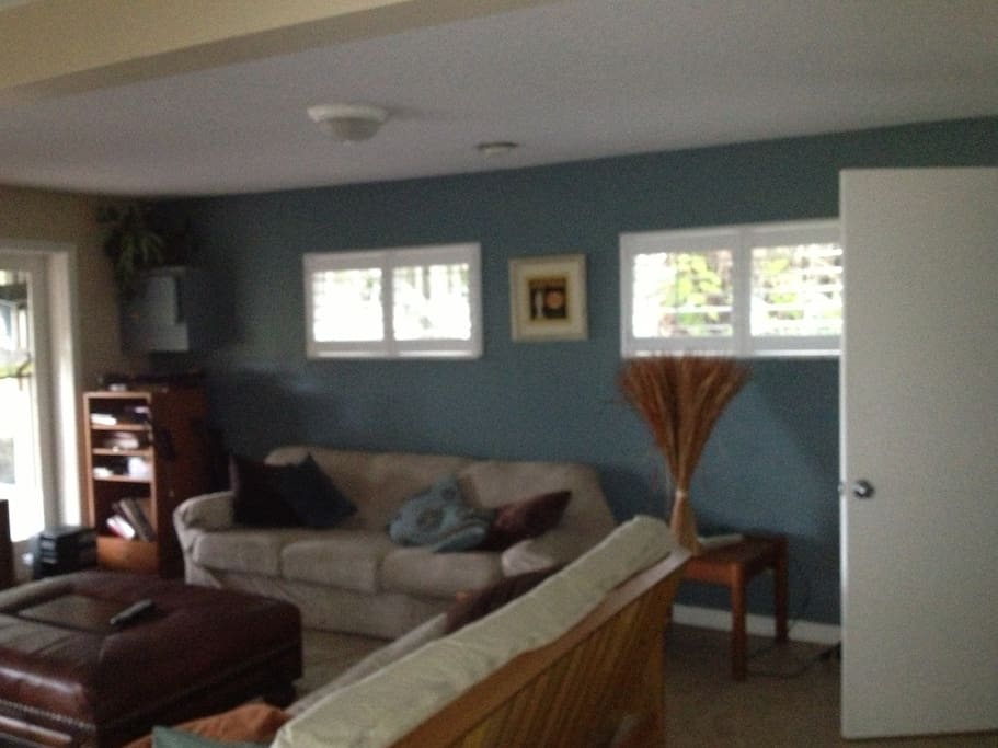 Living room area.  Couch and futon. To the left are double doors that open onto the screen porch.
