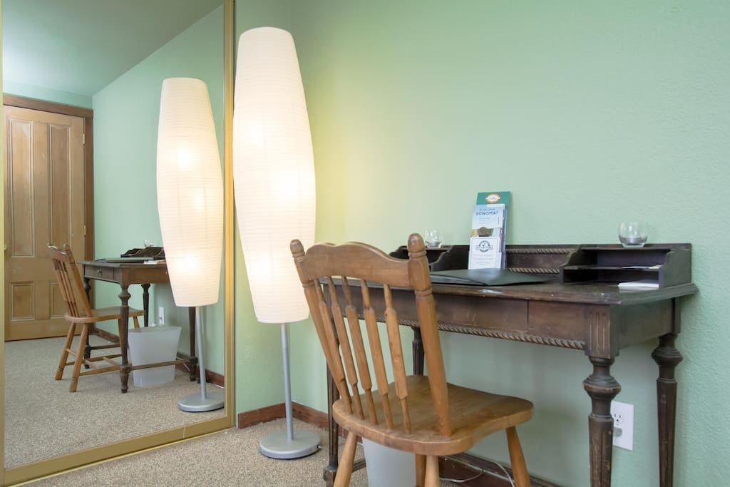 Simple, well-lit workspace, with lots of information on local attractions.