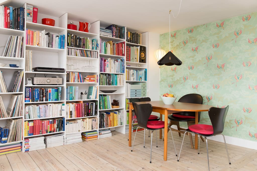 My home-made library has lots of books in English, plenty of children's books, and a Lot of cooking books. The record collection mostly holds classical and jazz music, but also newer stuff.