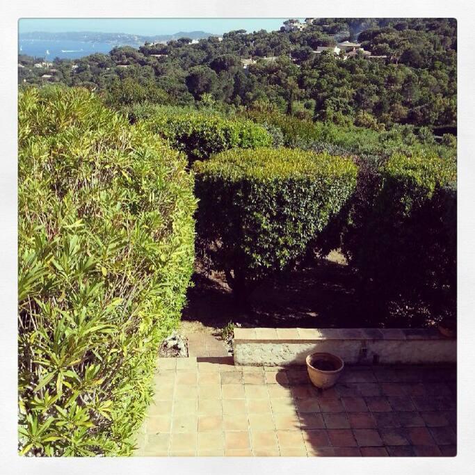 Vue du premier étage, sur la terrasse et le jardin provençal