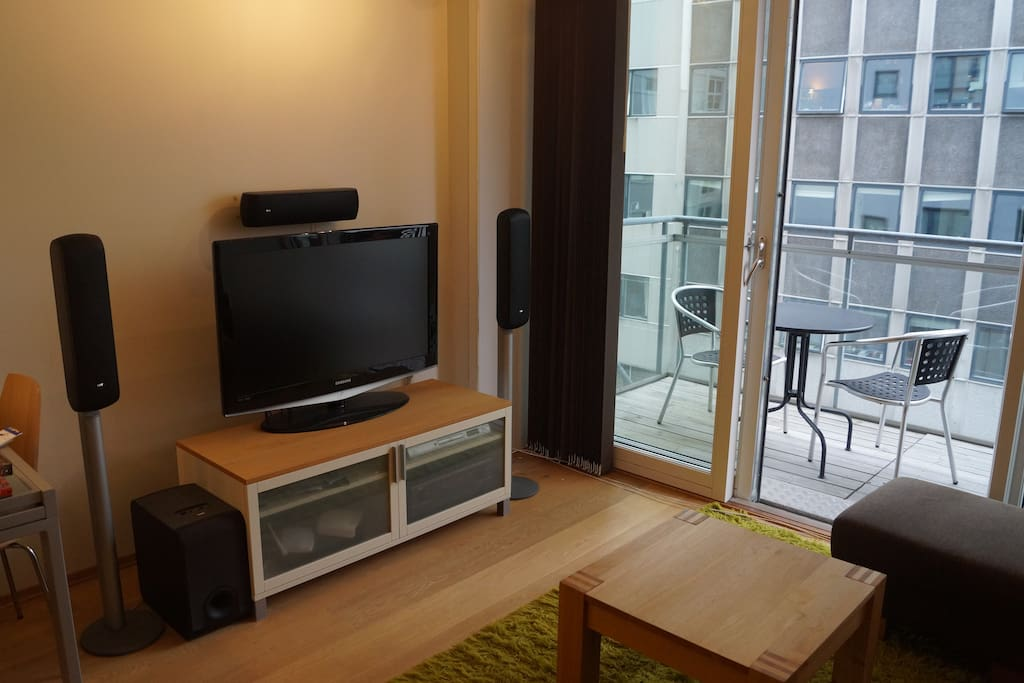 LCD TV with surround sound.