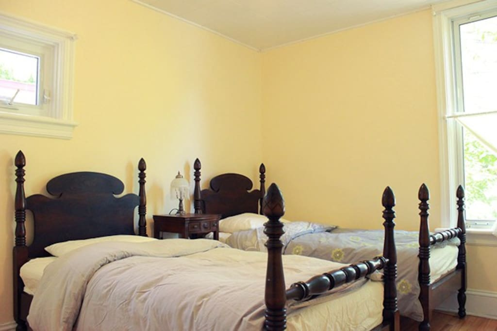 Master bedroom. 2 single beds can be combined into a king sized bed for a couple.