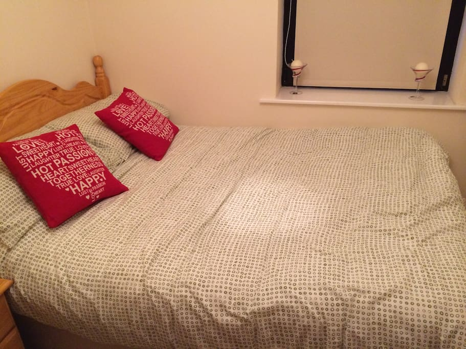 Comfy double bed with memory foam mattress topper for extra comfort