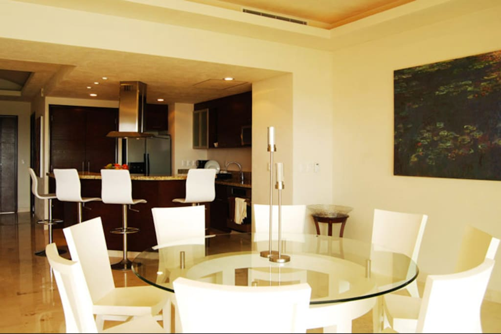 Spacious terrace that blends with living room, dining room and kitchen.