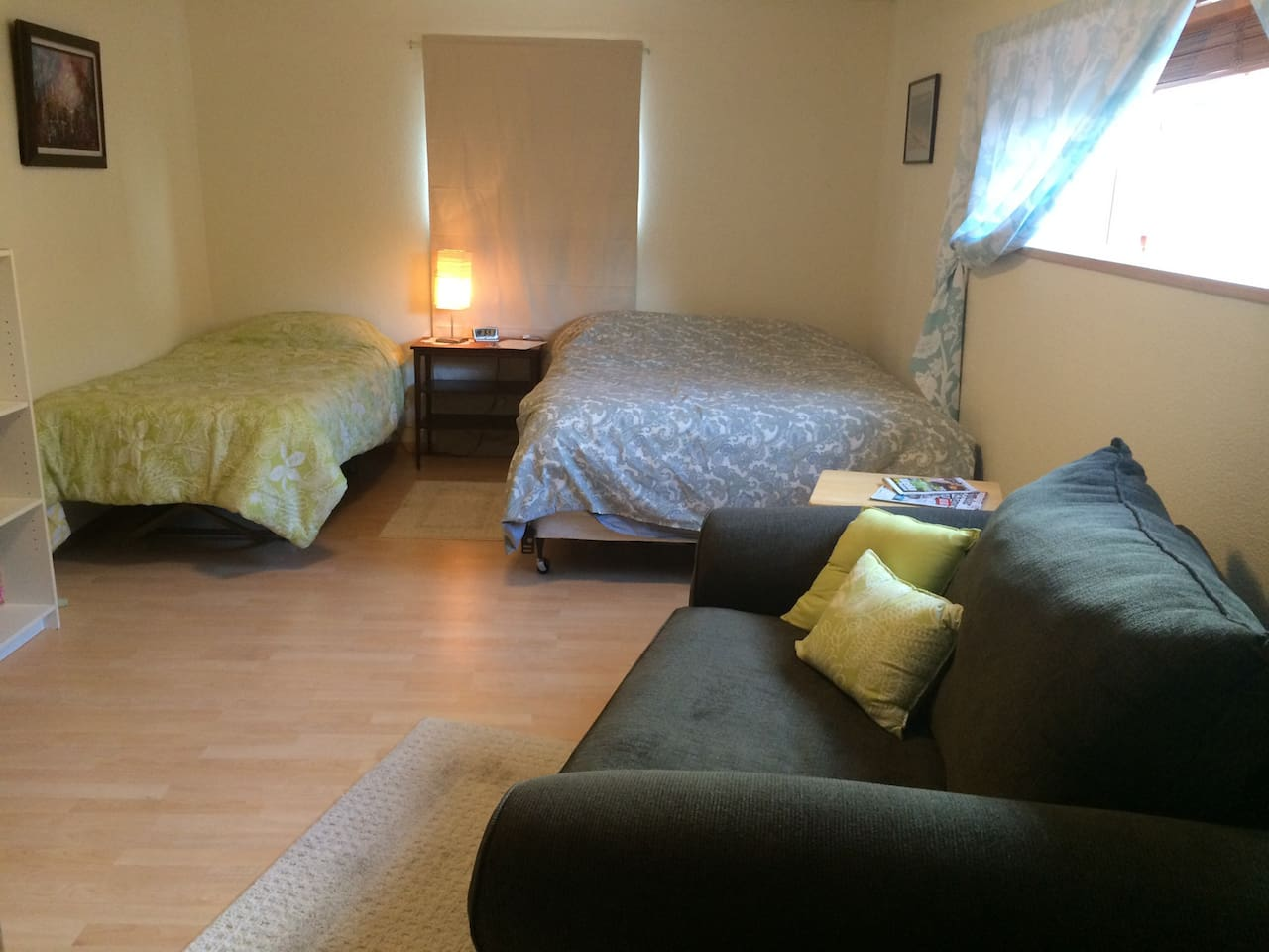 A spacious room with a queen and twin bed available.